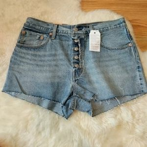 Levi's Jean Exposed Button Shorts Denim Jump Start